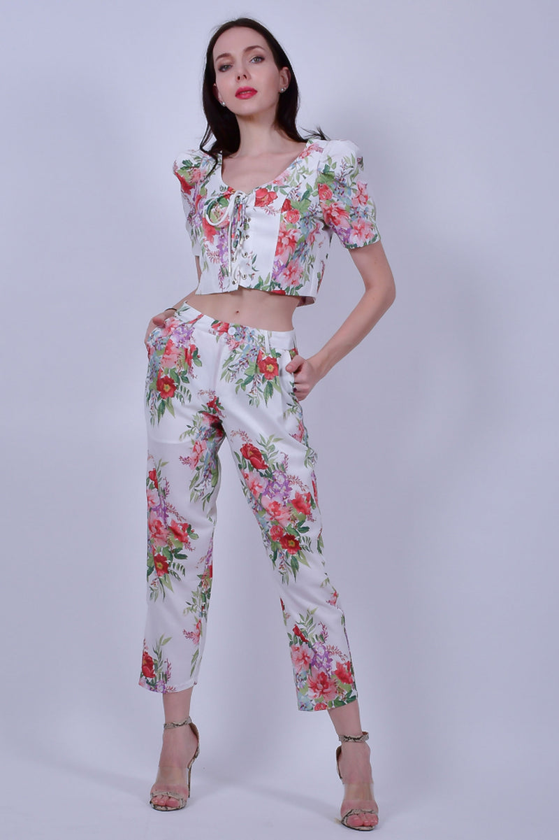 White Floral Top and Pants