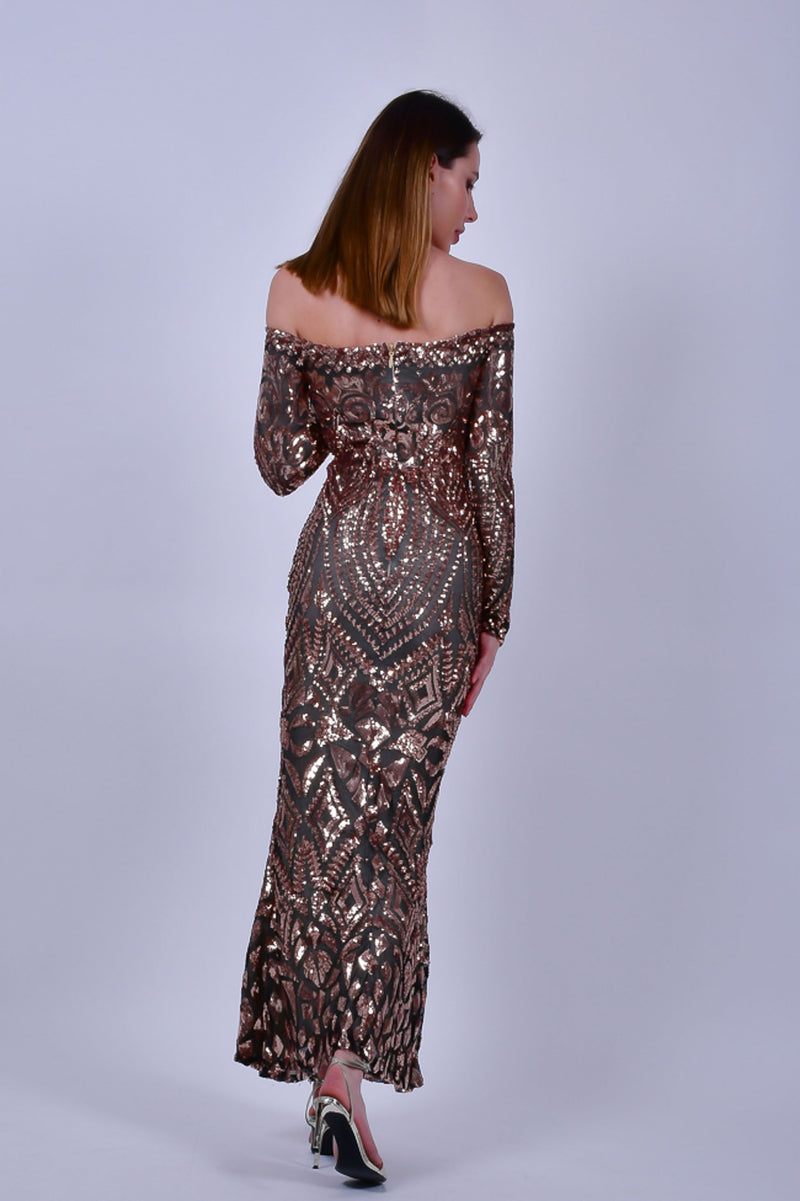 Rose Gold Off the Shoulders Sequins Evening Gown