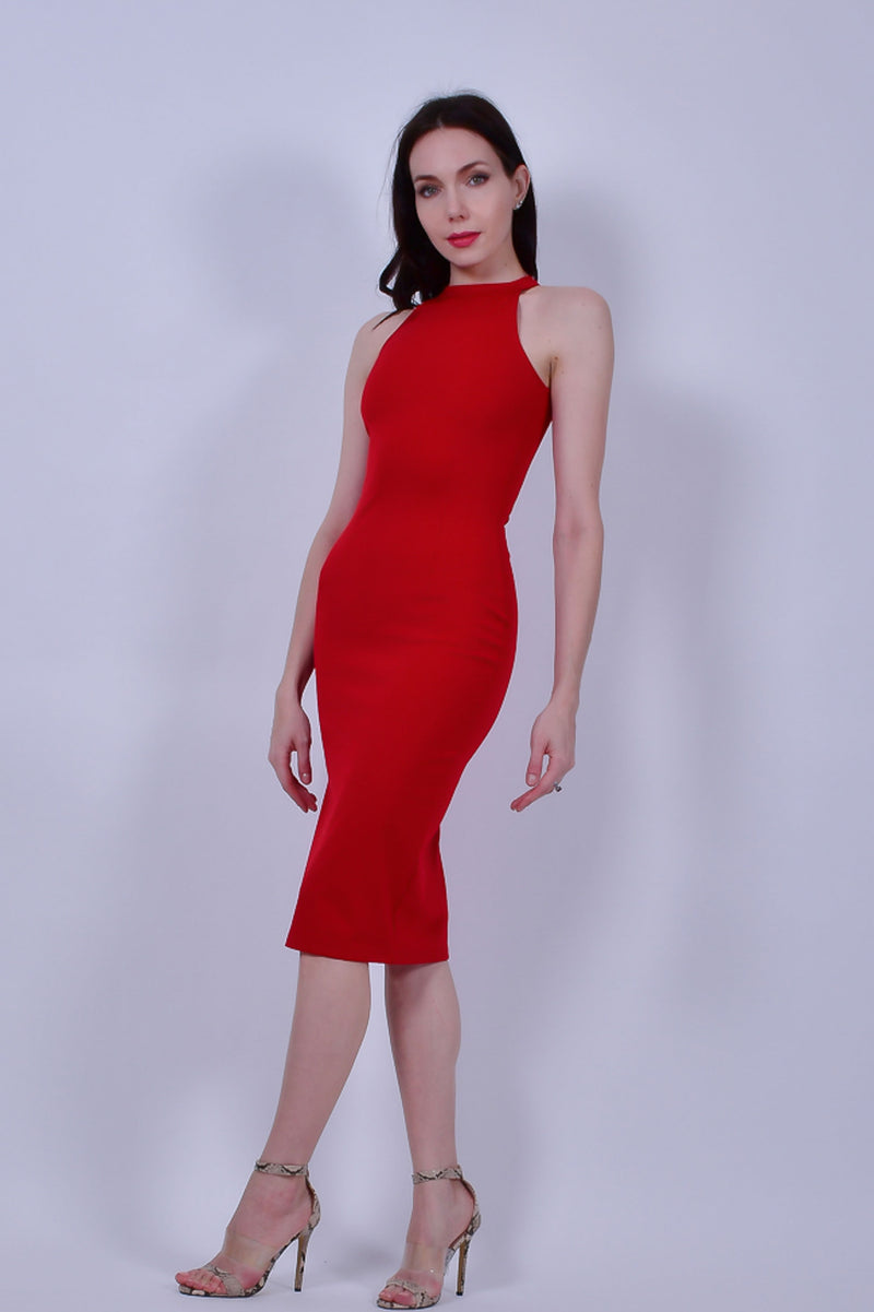 Red High Neck Sleeveless Bodycon Midi Dress