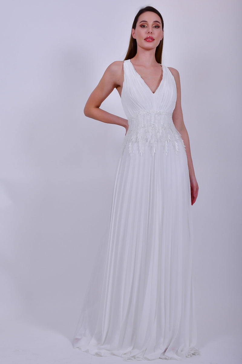 White Strappy Chiffon Evening Gown With Sequin Applique