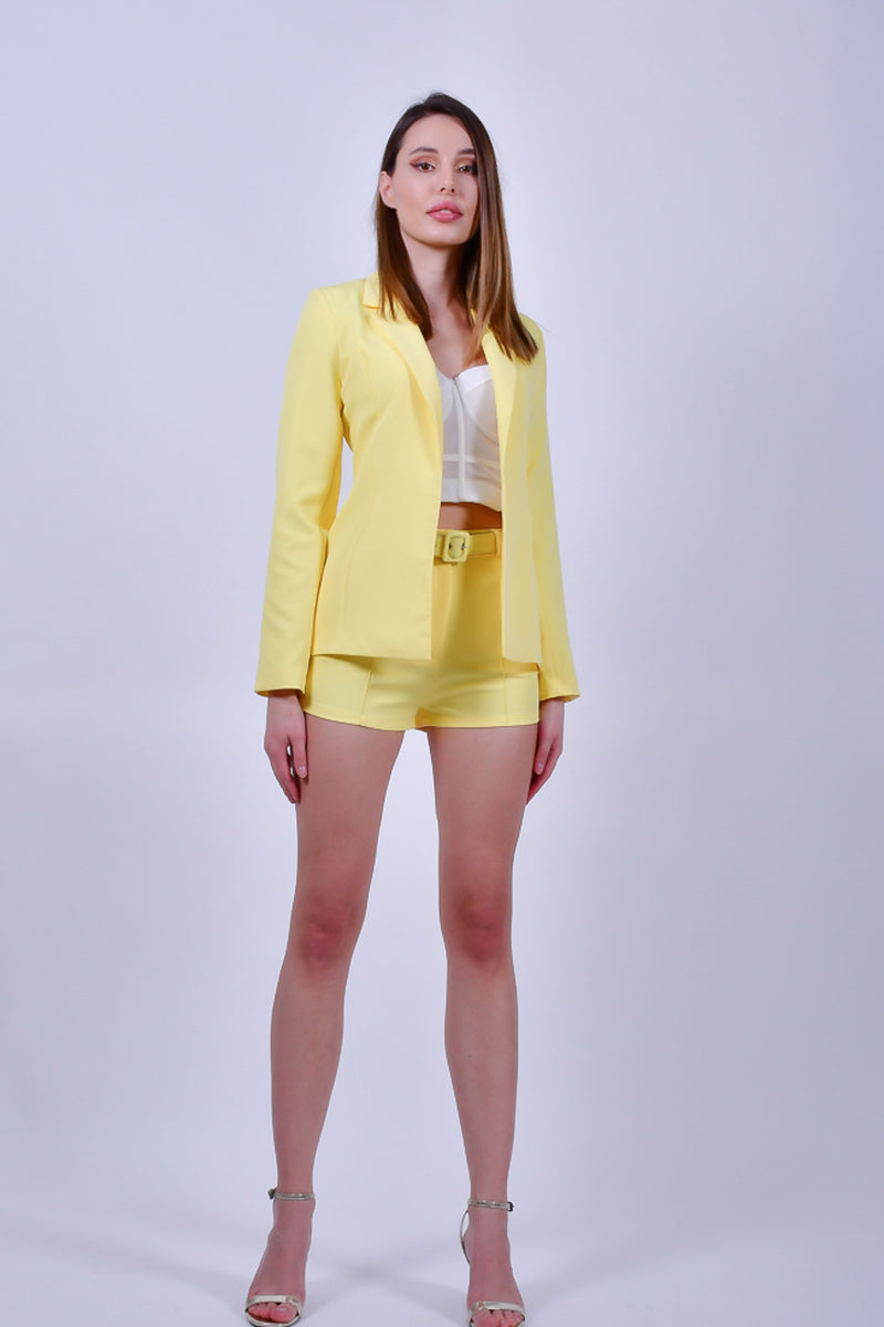 Yellow Crepe Blazer and Shorts set