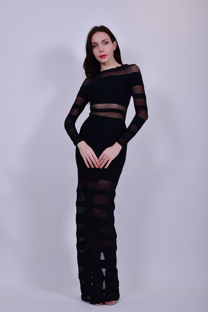 Black Bandage Long Sleeve  Evening Gown with Sheer Cutouts