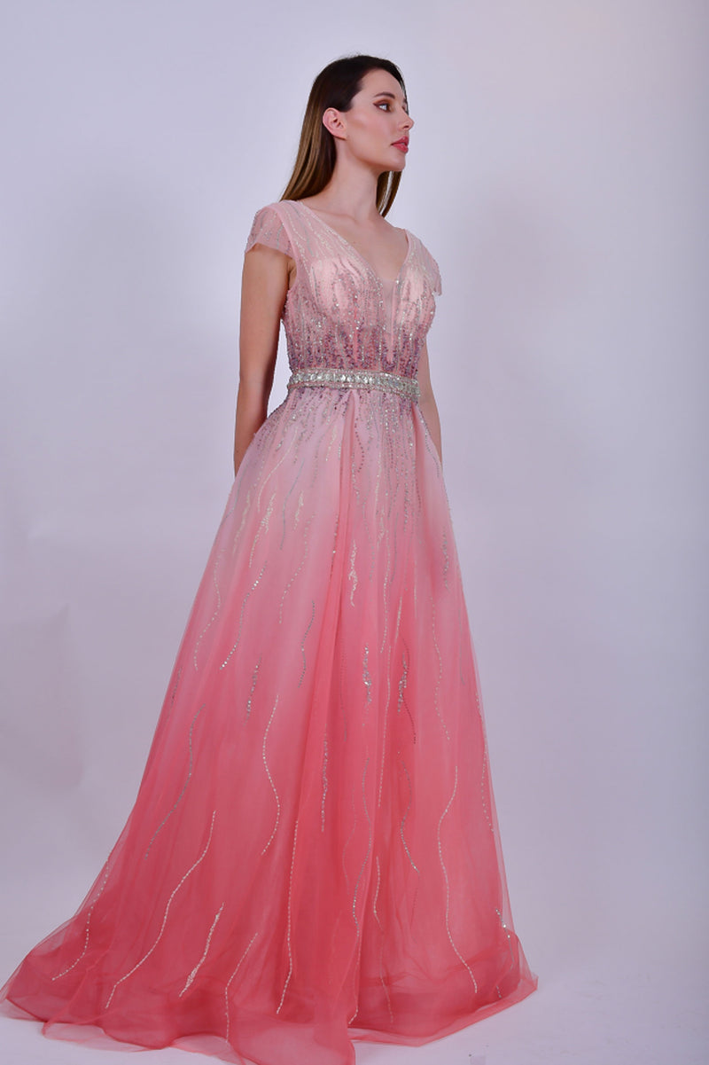 Pink Chiffon Evening Gown