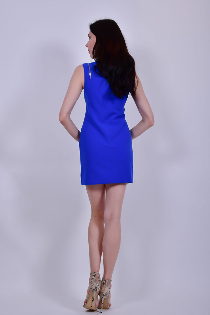 Blue Sleeveless With Silver Front  Zipper Mini Dress