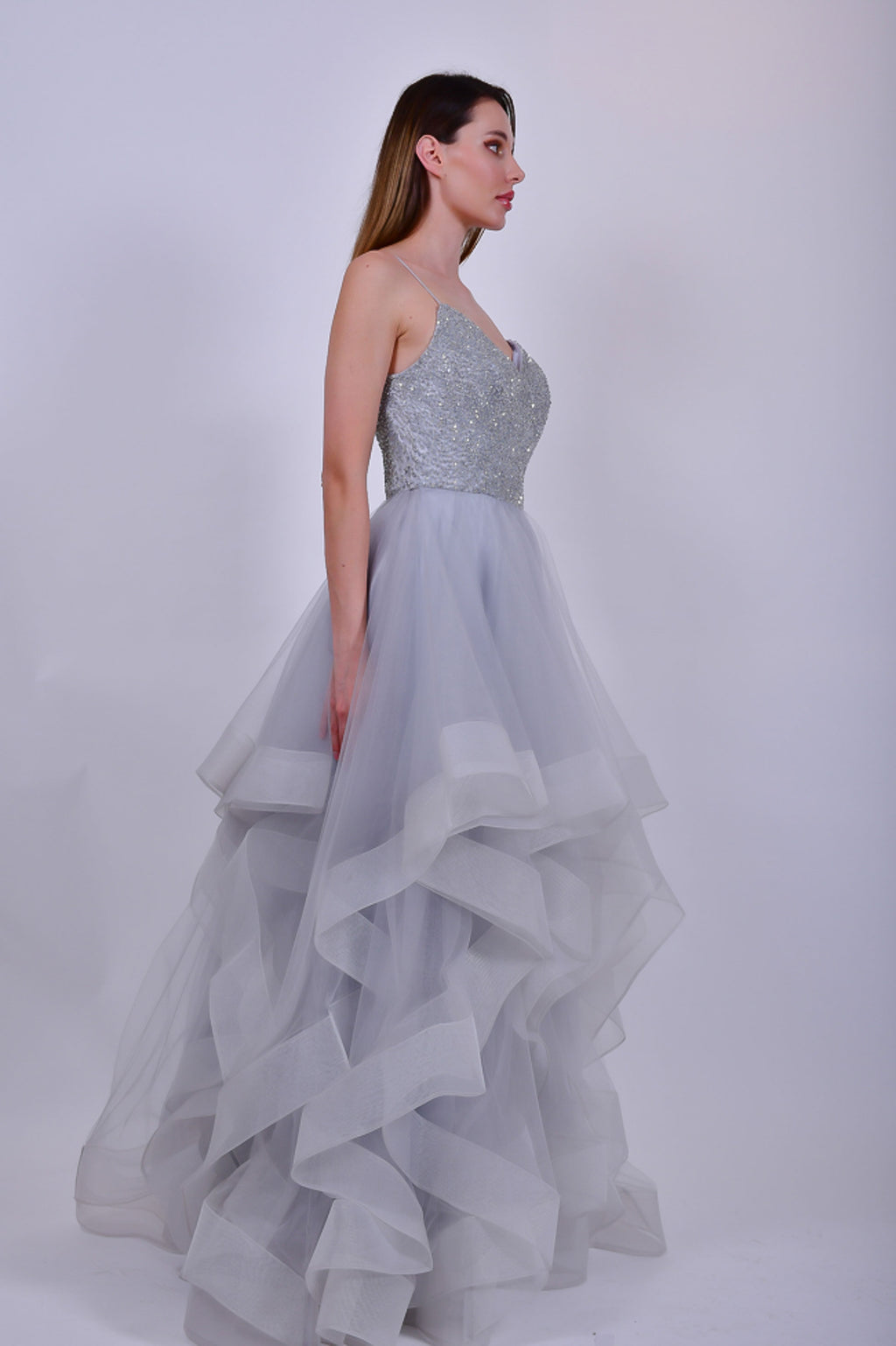 Silver Crystals Spaghetti Straps Evening Gown with Tulle