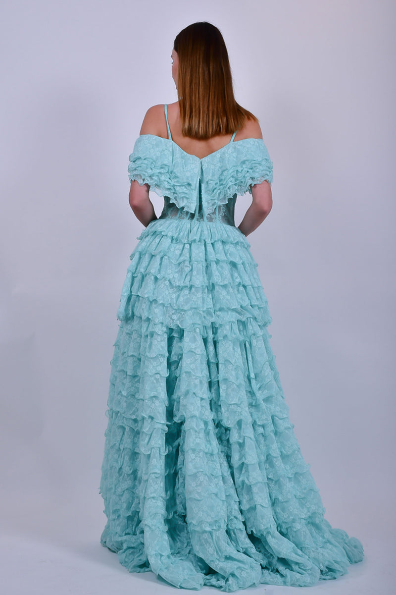 Mint Green off the Shoulder Lace Evening Gown