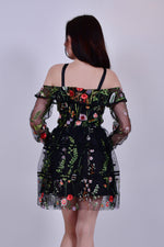 Black Floral Chiffon Mini Dress