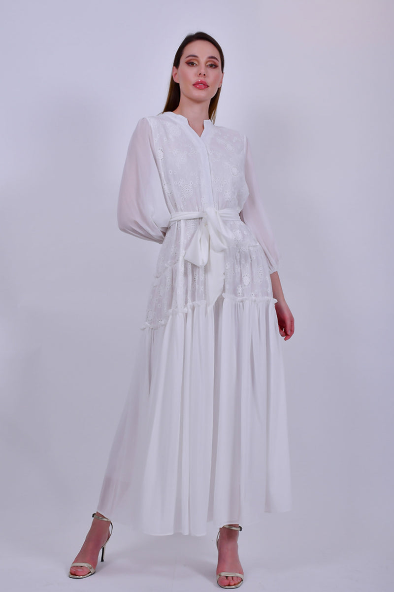 White Maxi Dress with Long Puffed Sleeves