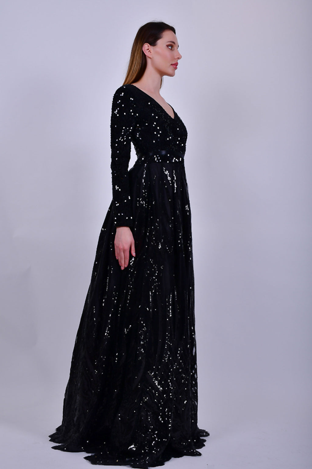 Black Long Sleeve Maxi Evening Gown w Sequins