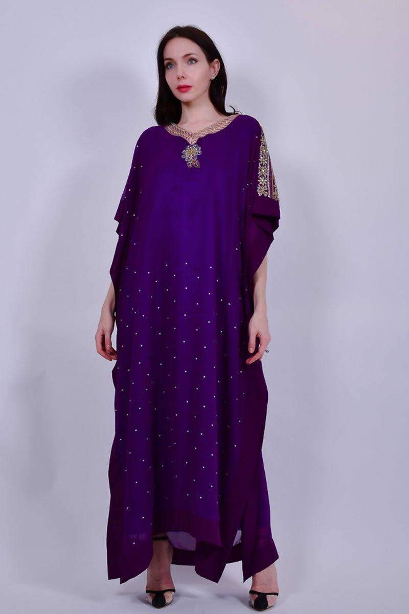 Purple Jalabiya with Gold and Silver Embellishment