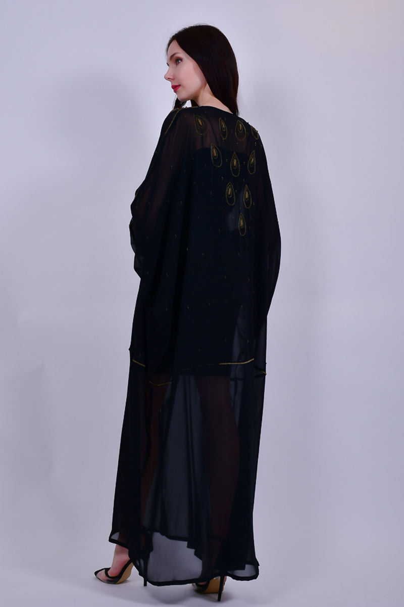 Black Sheer Abaya with Beads Detail