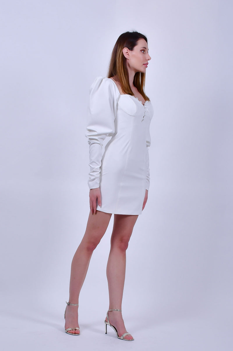 White Long Sleeves Bodycon Mini Dress