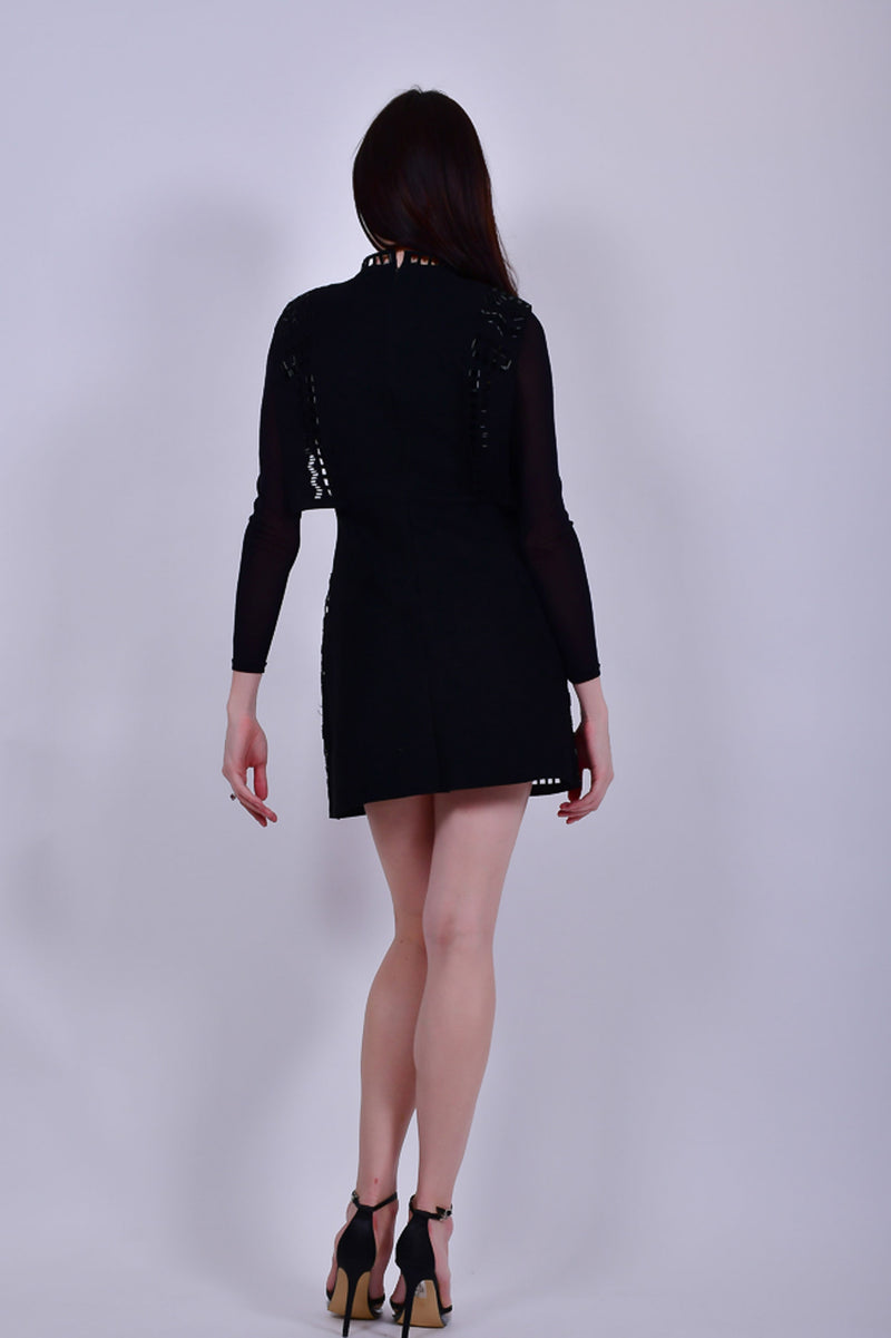 Black Suede Mini Dress with Sequins Embroidery