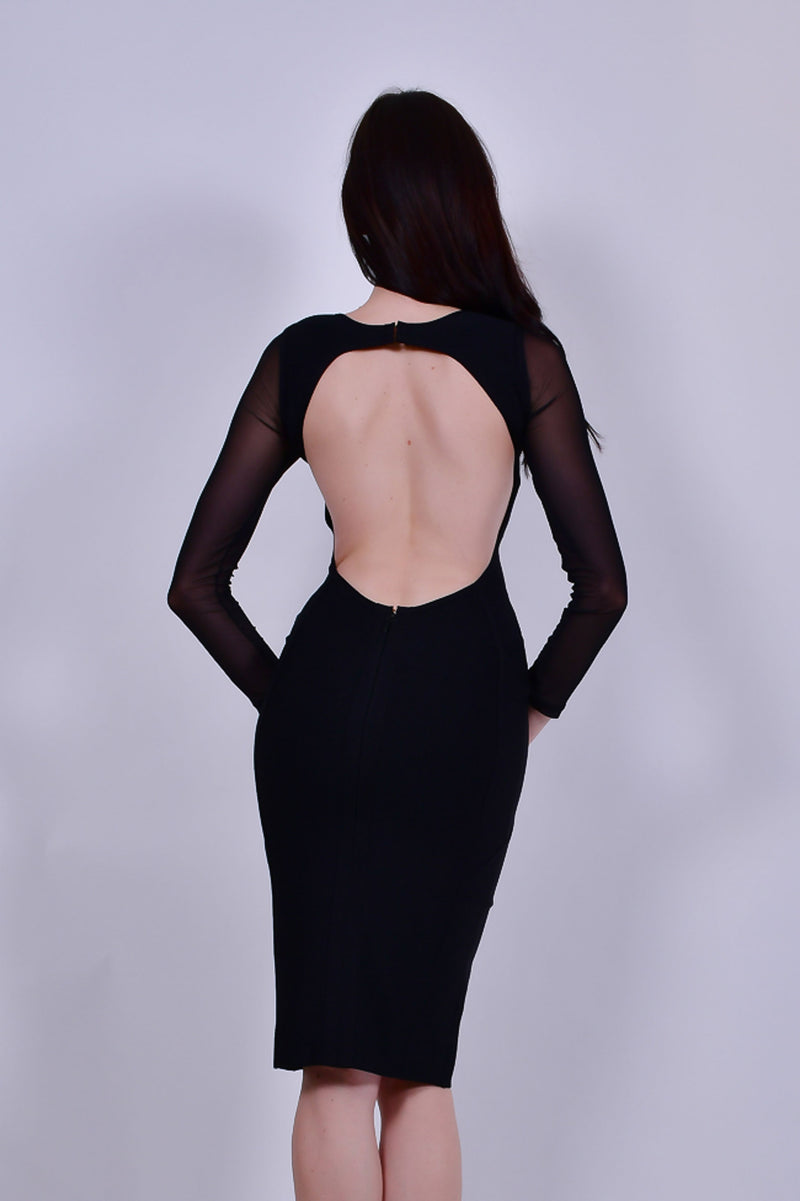 Black Bandage Dress with Sheer Sleeves and Open Back