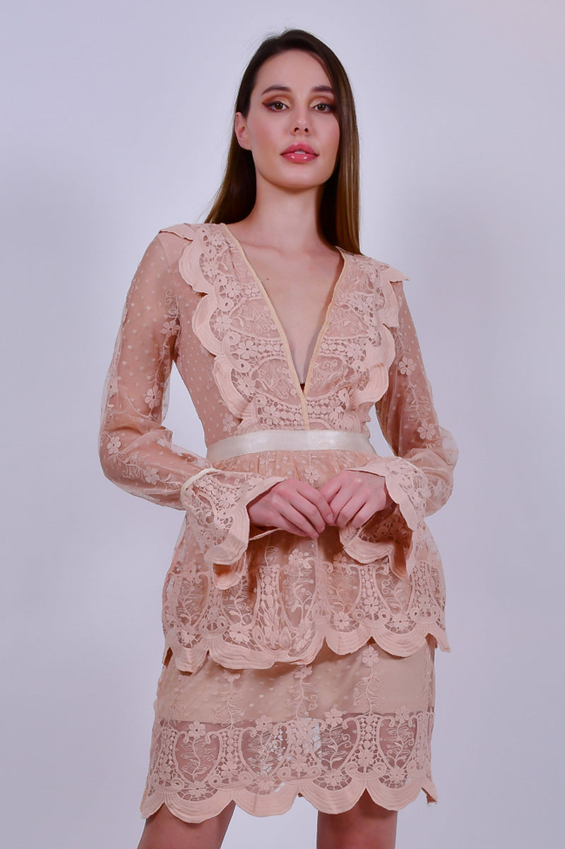 Nude Crochet Lace Mini Dress with Plunge Neck