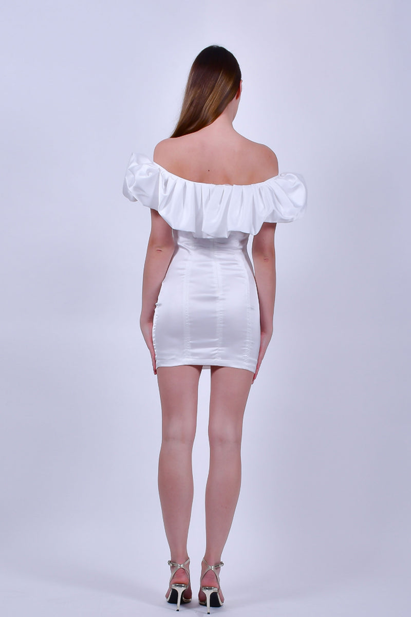White Off The Shoulder Satin Mini Dress  with Ruffled Top