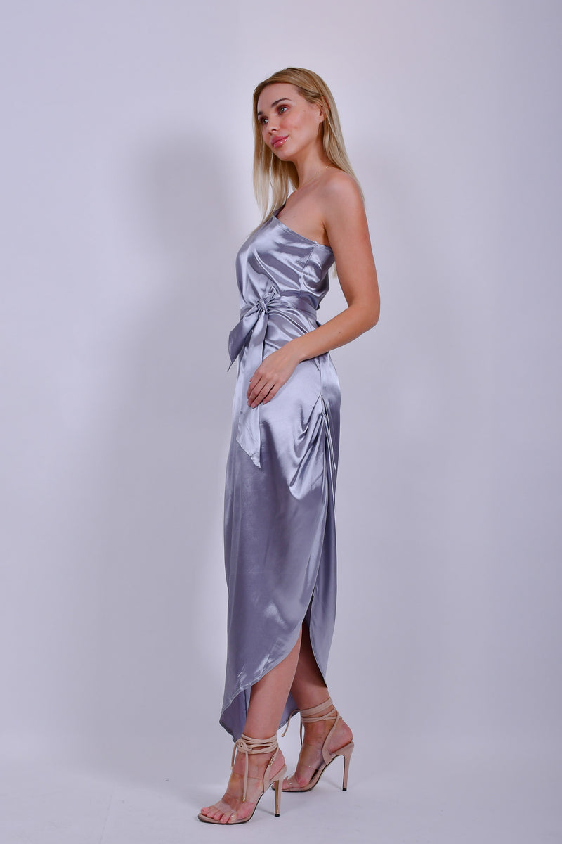 Silver One Sleeve Satin Midi Dress with Sleeves