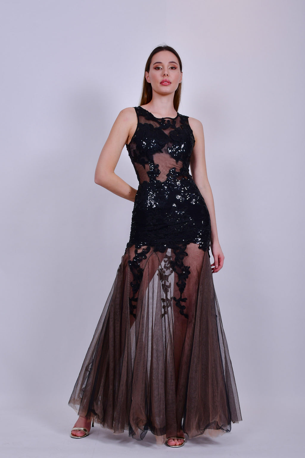 Black and Nude Sheer Dress with Appliques