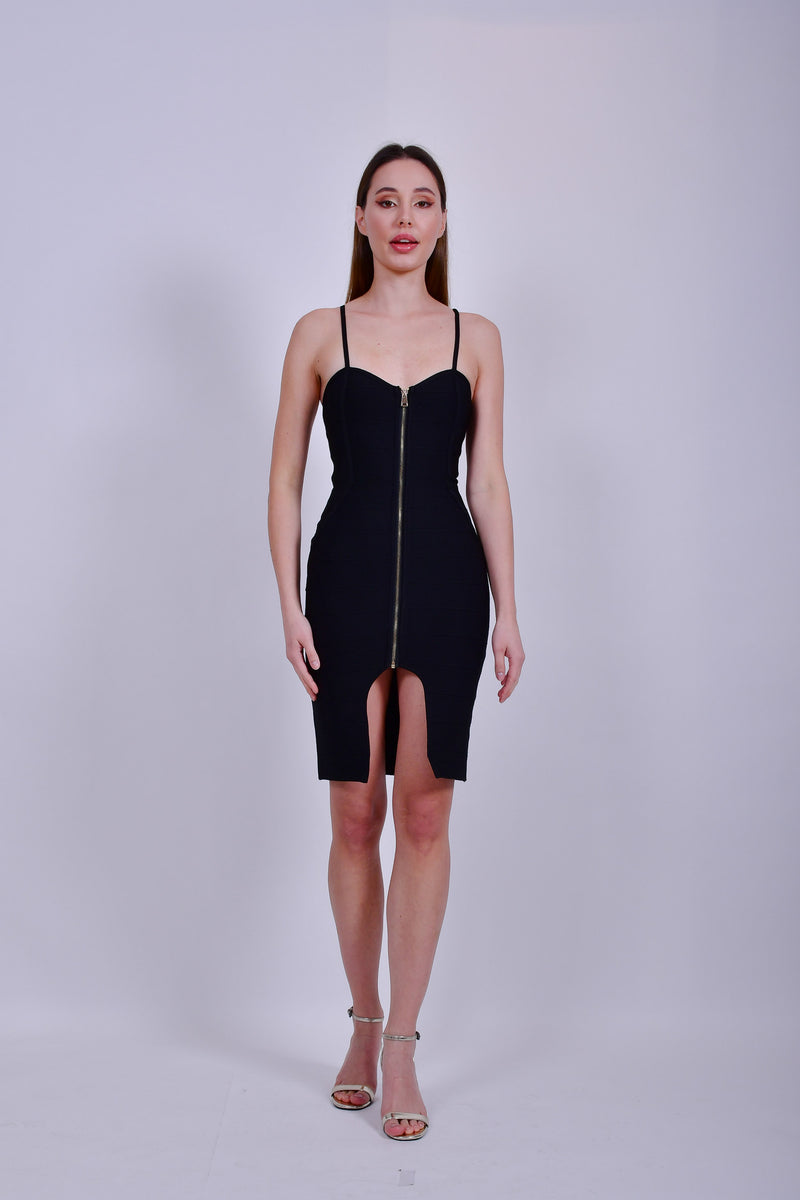 Black Bandage Dress with Front Zipper
