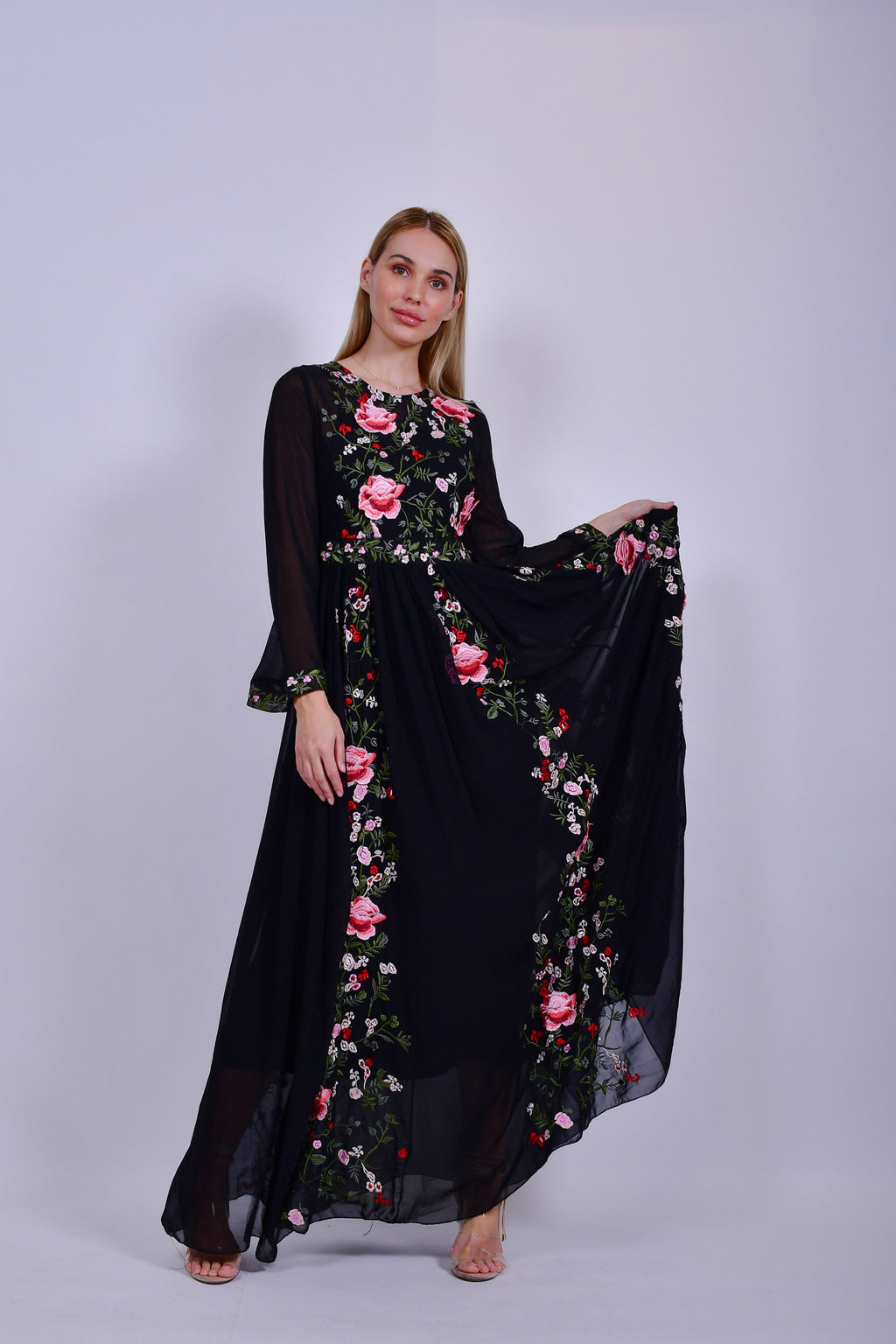 Black Maxi Dress Chiffon with Rose Applique