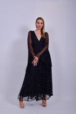 Black Mesh Maxi Dress with Colored Pearls and Flared Sleeves