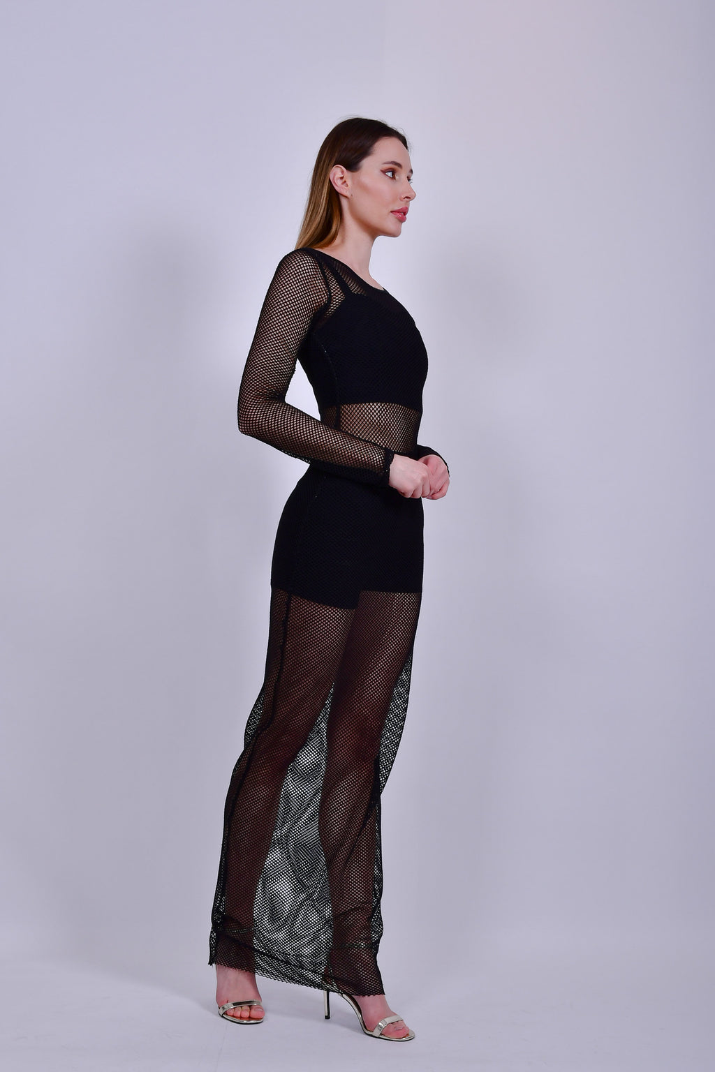 Black Long Net Bodycon Cover Up with Long Sleeves