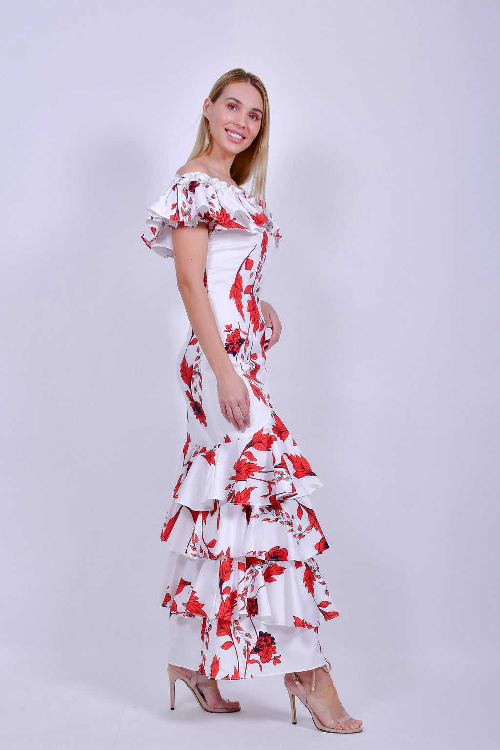 White and Red Flowers Maxi Dress with Ruffles