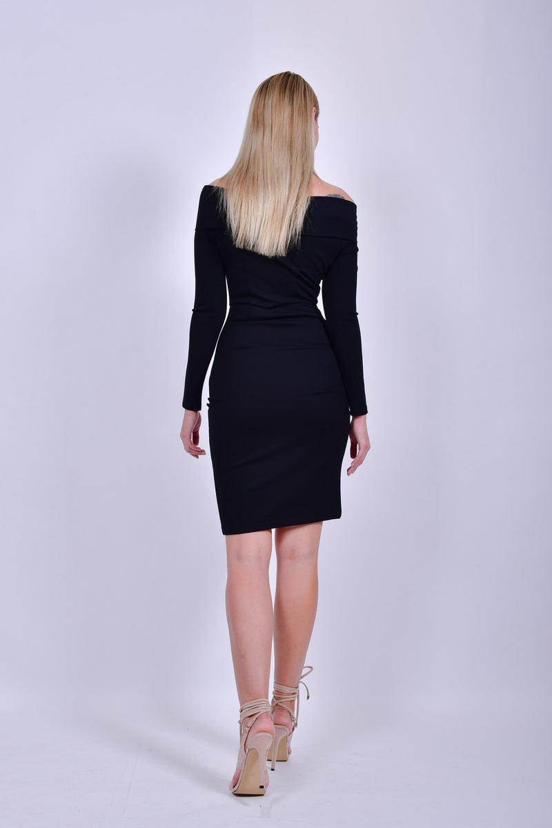 Black Off the Shoulder Long Sleeve Bodycon Dress