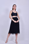 Black Bandage Crop Top with Lace up Front