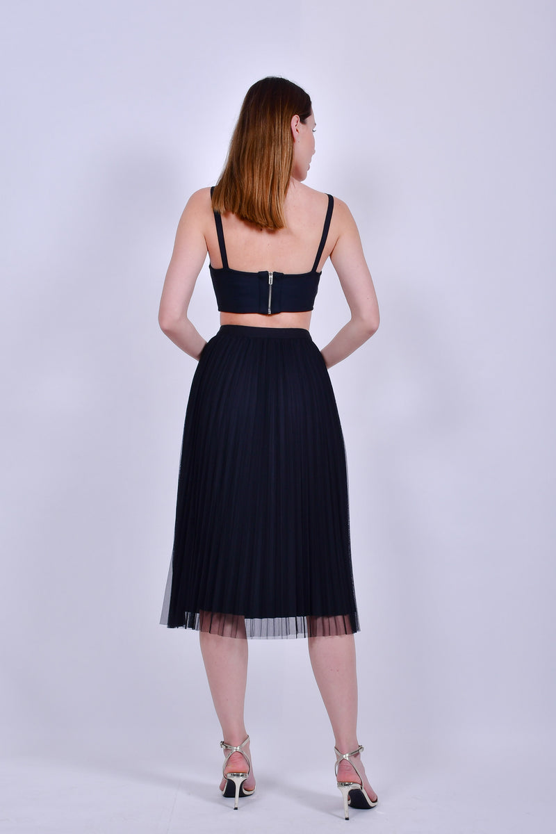 Black Mesh Pleated Skirt