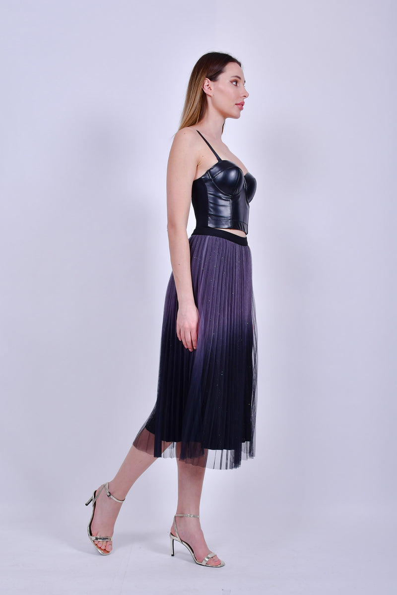 Purple and Black Pleated Skirt
