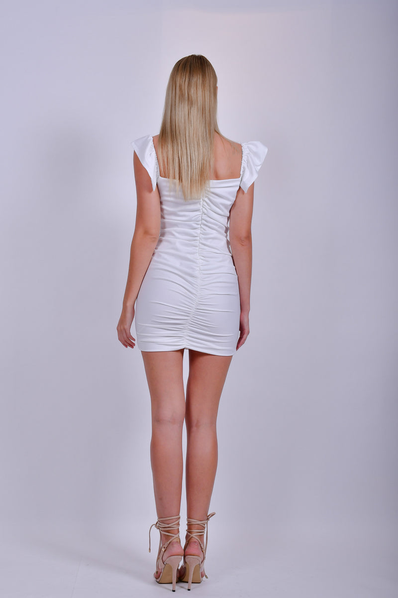White Off the Shoulder Cotton  Ruched Mini Dress