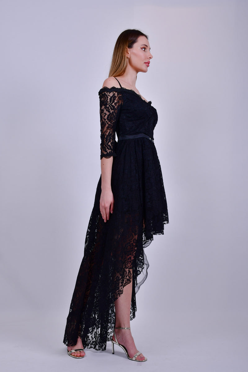 Black Lace Off the Shoulder High Low Dress