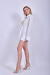 White Long Sleeve Shirt Mini Dress
