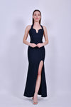 Black Bandage Halter Gown with Slit