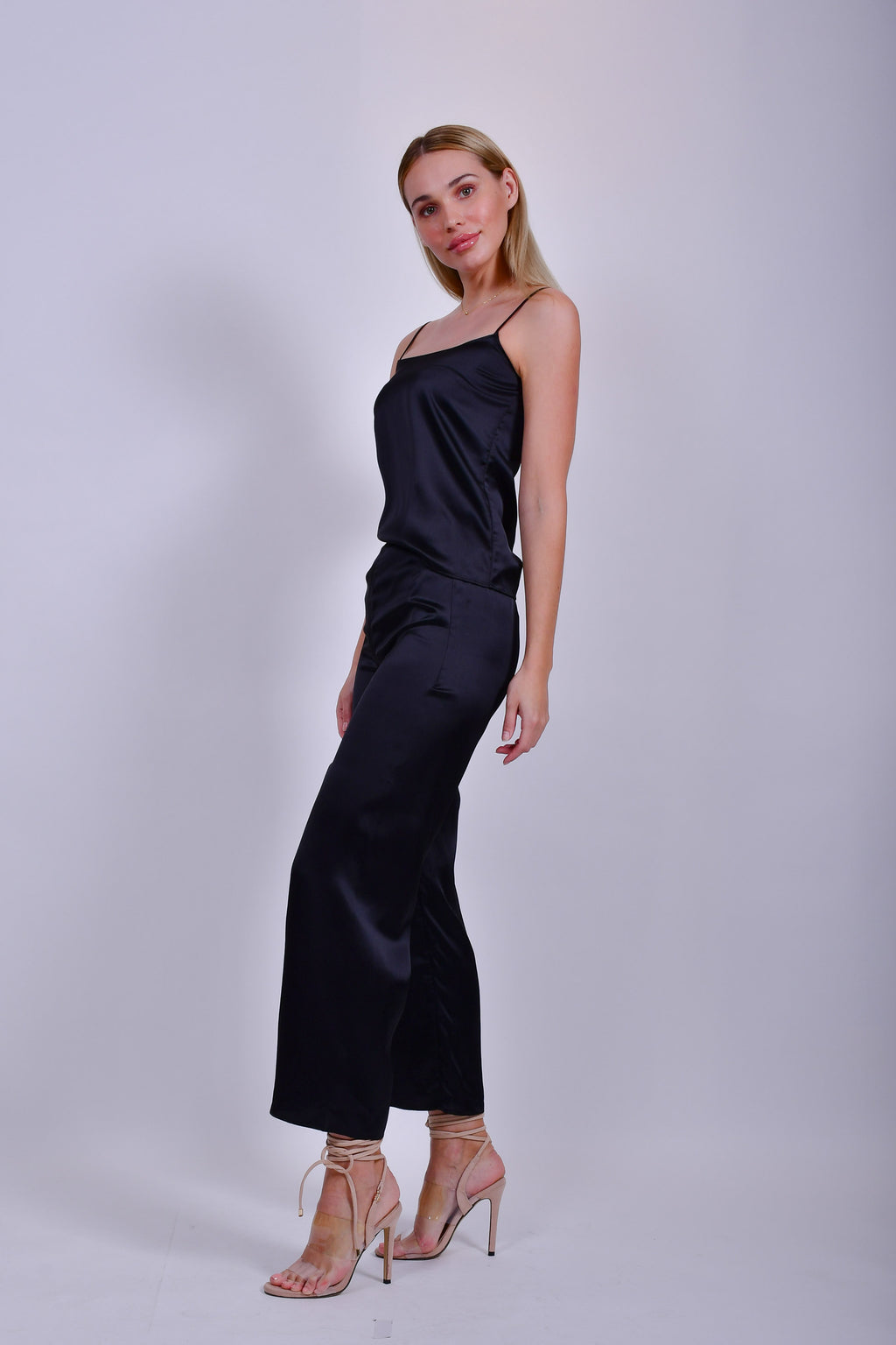 black Silky Camisole and Pants