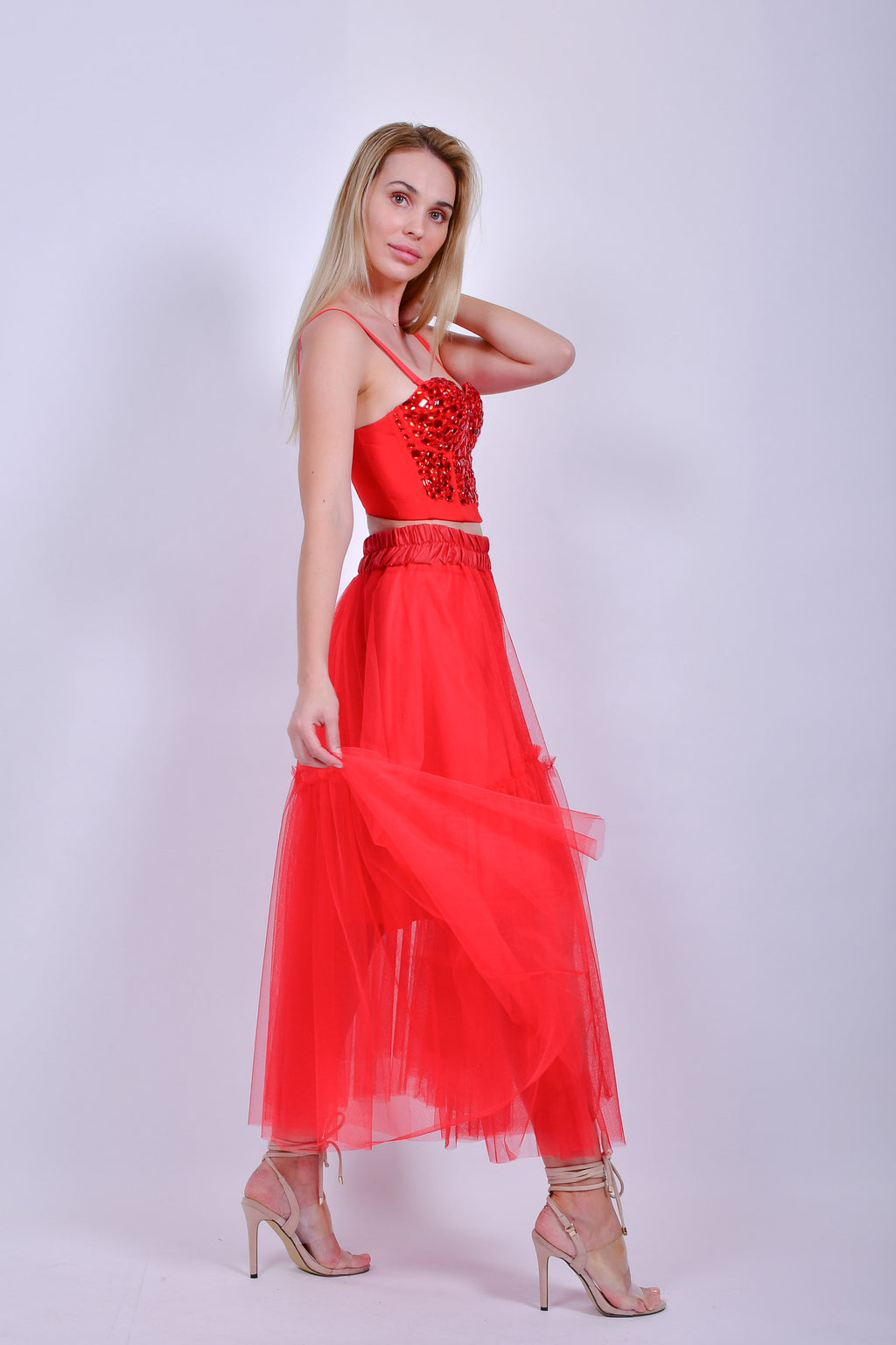 Red Midi Tulle Dress