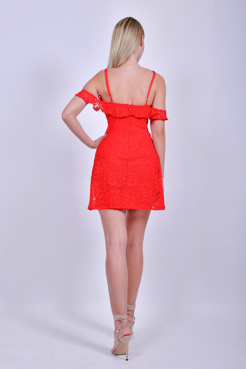 Red Bandage Off the Shoulder with Straps  Dress with Red Lace Overlay