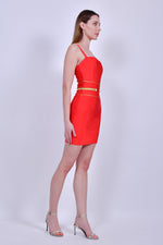 Red Bandage Spaghetti Straps Mini Dress with Gold Accents