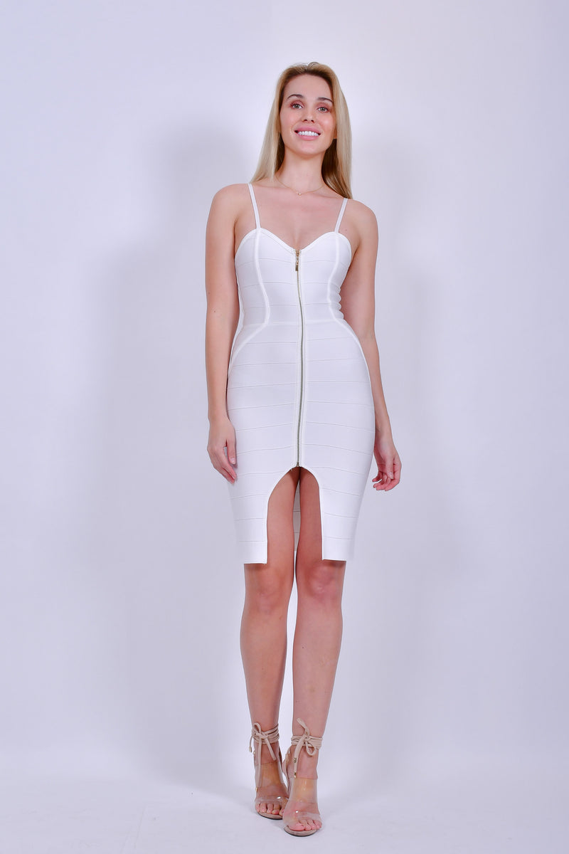 White Bandage Spaghetti Dress with Zipper and Front Slit
