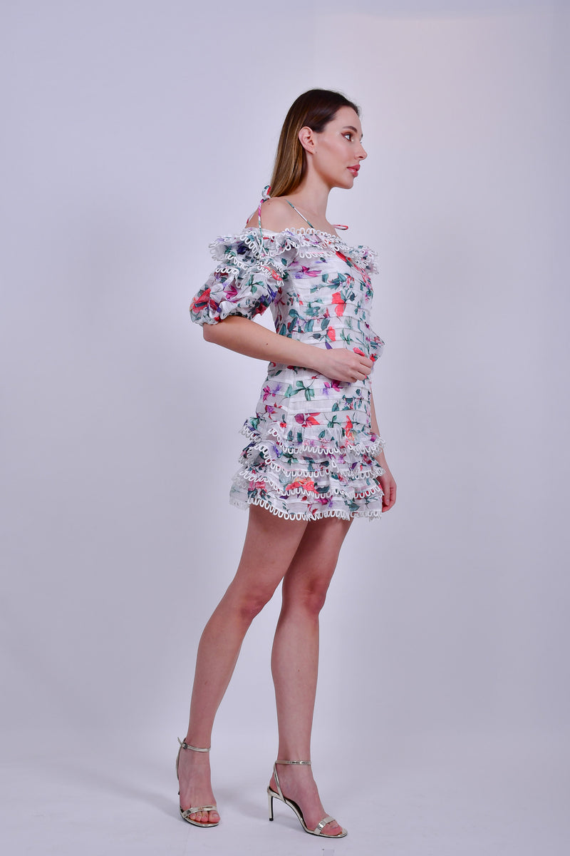 Floral Ruched Mini Dress Off the Shoulder