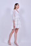 White Long Sleeve Cotton and Lace Mini Dress