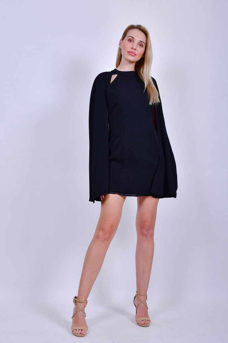 Black  Short Sleeve Mini Dress with Cape