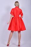 Red Satin Short Sleeve Midi Dress