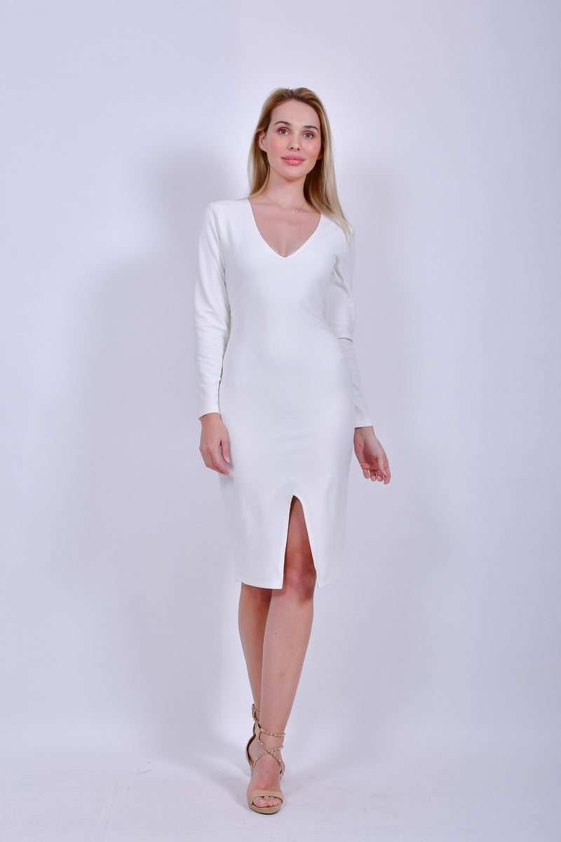 White Bodycon Long Sleeve  Dress with Front Slit