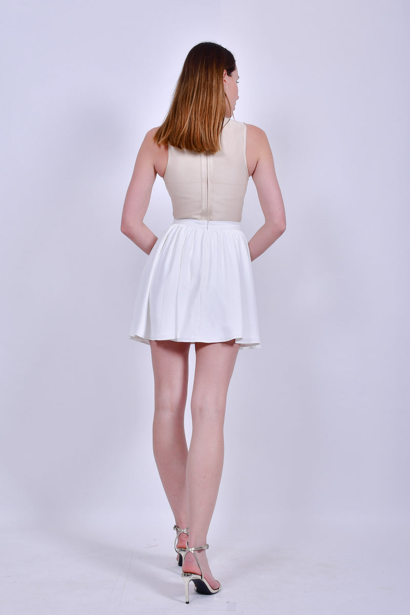Beige Bandage sleeveless Bodysuit with Lace Up