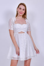 White Off Shoulder Organza Mini Dress with Cutout