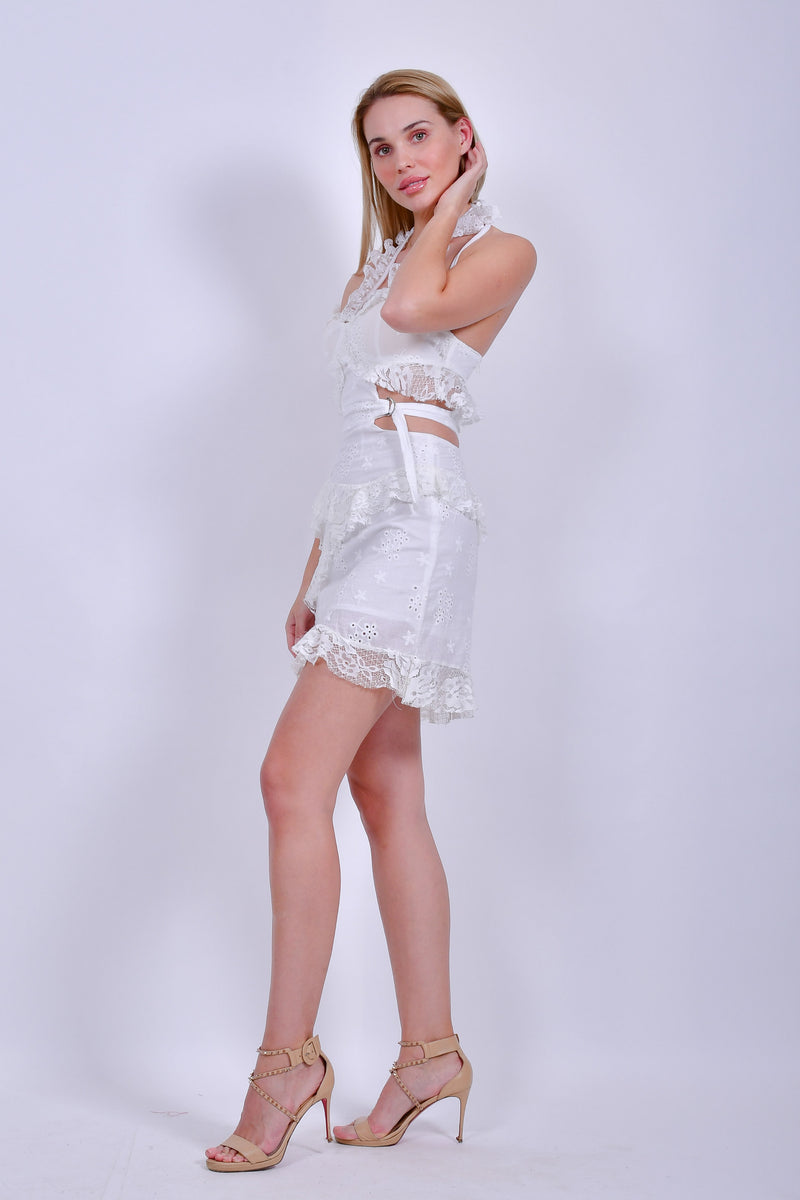 White Cotton and Lace Sweetheart Neckline Mini Dress