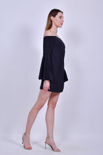 Black Off the Shoulder Mini Dress