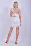 White Cotton Strapless Mini Dress with Ruffles